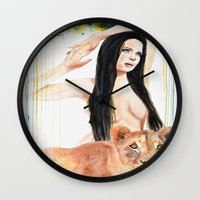 girl power Wall Clocks featuring Girl Power by Beth Michele
