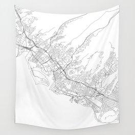 Honolulu White Map Wall Tapestry