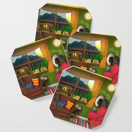 Abuela's Childhood Memories Paper Art Coaster