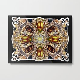 Art Nouveau Jeweled Beetles and African Marigold Metal Print