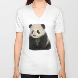Young Giant Panda Unisex V-Neck