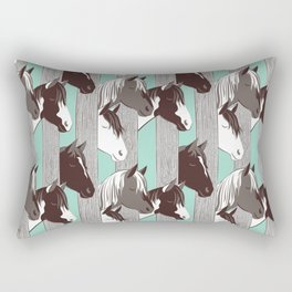 Waiting for the horse race // mint background Rectangular Pillow