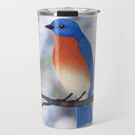 male eastern bluebird bokeh background Travel Mug