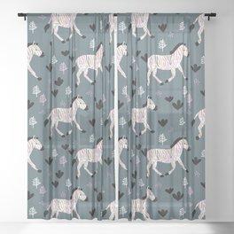 Sweet Zebra night garden winter blue pink kids Sheer Curtain