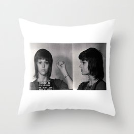 Jane Fonda Mugshot Throw Pillow