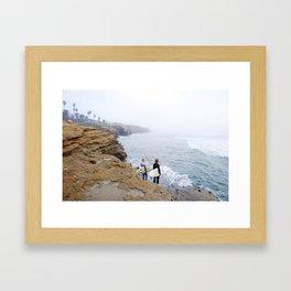 Sunset Cliffs Surfers Framed Art Print