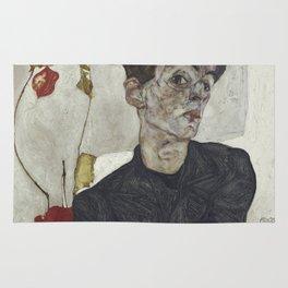 Egon Schiele - Self - Portrait With Chinese Lantern Plant. Rug