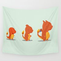 evolution Wall Tapestries featuring Evolution fire by Manfred Maroto