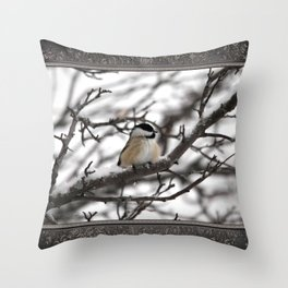 Winter Windblown Black-Capped Chickadee Throw Pillow