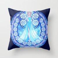 elsa Throw Pillows featuring Elsa by NicoleGrahamART
