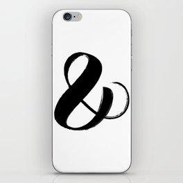 Abstract Ampersand sign Black, Brush stroke art iPhone Skin