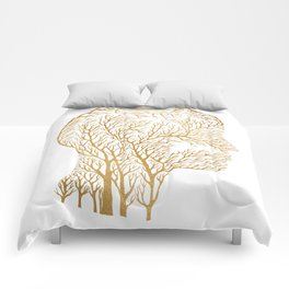 Head Profile Branches - Gold Comforters