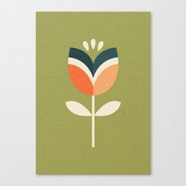 RETRO TULIP - ORANGE AND OLIVE GREEN Canvas Print