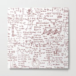 Physics Equations in Red Pen Metal Print