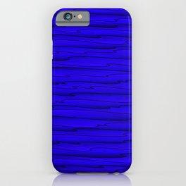 Horizontal bright blue lines on a dark tree. iPhone Case