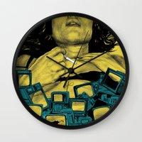 in the flesh Wall Clocks featuring New Flesh by Maritsa Patrinos