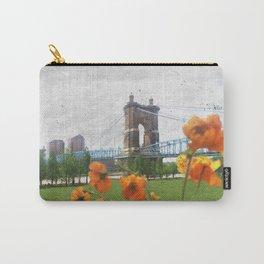 Roebling Suspension Bridge w Orange Flowers Carry-All Pouch