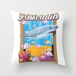 Australia Underwater shark travel poster Throw Pillow