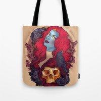 raven Tote Bags featuring Raven by Megan Lara