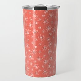 Loopy Flowers - white on coral Travel Mug
