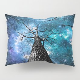 Wintry Trees Galaxy Skies Teal Blue Violet Pillow Sham