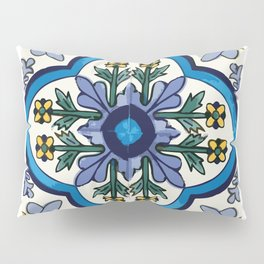 Talavera Mexican tile inspired bold design in blues, greens, and yellows Pillow Sham