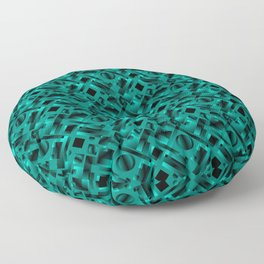 Stylish design with rotating circles and light blue rectangles from dark stripes. Floor Pillow