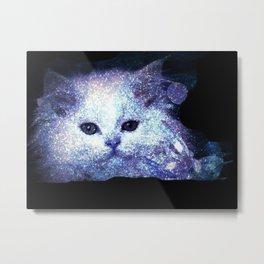 Cat white glitter Metal Print