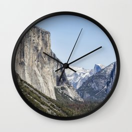 El Capitan, Half Dome and Sentinel Rock from Tunnel View Wall Clock