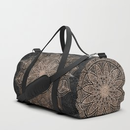 Mandala - rose gold and black marble 4 Duffle Bag