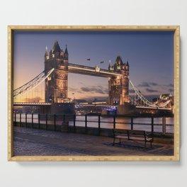 Historic Tower Bridge Thames River London Capital City England United Kingdom Romantic Sunset UHD Serving Tray
