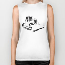 Dozer Construction Funny Cute Backhoe Bulldozer Black Big Biker Tank