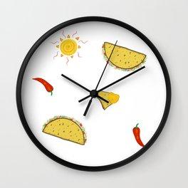 Hot Pepper Taco Party Wall Clock