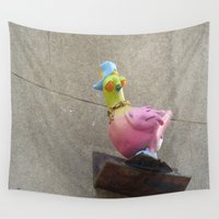 hip hop Wall Tapestries featuring hip-hop pigeon by Michelle Loidl
