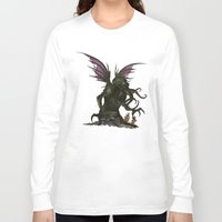 cthulu Long Sleeve T-shirts featuring Elder God by CromMorc