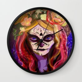 Day of the Dead Blue Eyes Wall Clock