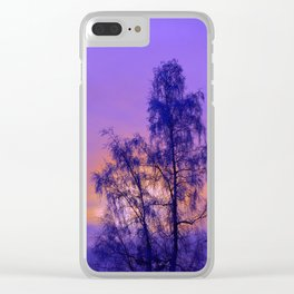 Hoarfrost Tree Sunset Clear iPhone Case
