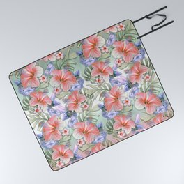 Hibiscus Aloha Stripe Picnic Blanket
