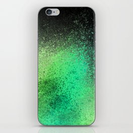 Neon Lime Green and Black Spray Paint Art iPhone Skin