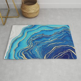 Blue and Gold Fluid Liquid Painting Rug