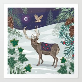 Folk Deer and Owl Art Print