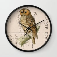 postcard Wall Clocks featuring Owl postcard by Vintage@Heart