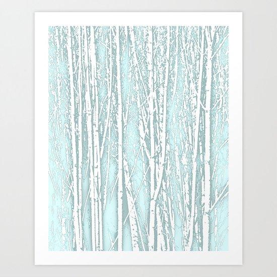 Birch Trees Pattern Pastel Blue Art Print