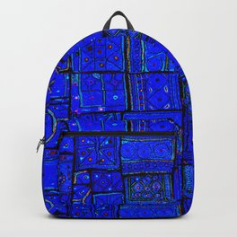 17 - Blue and White Geometric Orintal Moroccan Artwork Backpack