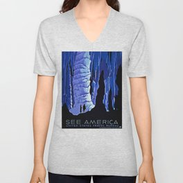 See America blue grotto vintage travel Unisex V-Neck