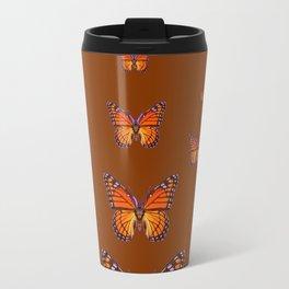 ORANGE MONARCH BUTTERFLIES COFFEE BROWN Travel Mug