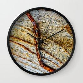 Grunge Rusty Metal Nail On Wooden Deck Wall Clock