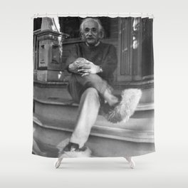 Albert Einstein in Fuzzy Slippers Classic Black and White Satirical Photography - Photographs Shower Curtain