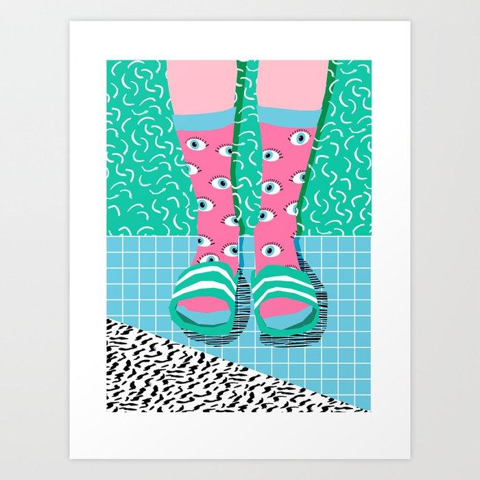 Chillax - memphis throwback style retro classic 1980s 80s grid pattern socks fashion apparel Art Print