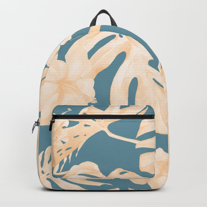 Island Vacay Hibiscus Palm Leaf Coral Teal Blue Backpack